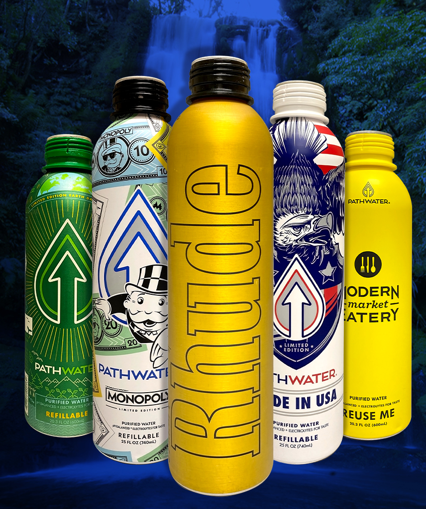 Pathwater 100% Recyclable Aluminum Bottled Water Containers by CCL Container